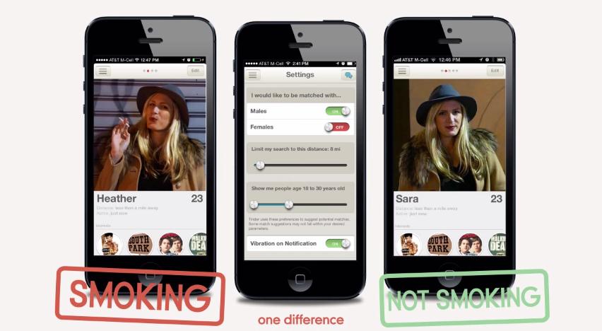 Campagne contre le tabagisme sur Tinder